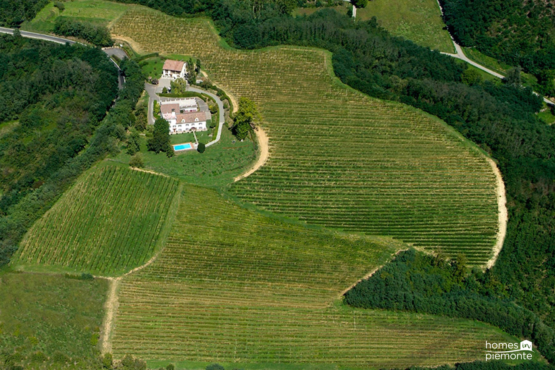 Aerial view of wine estate
