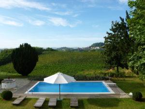Pool with vineyard views